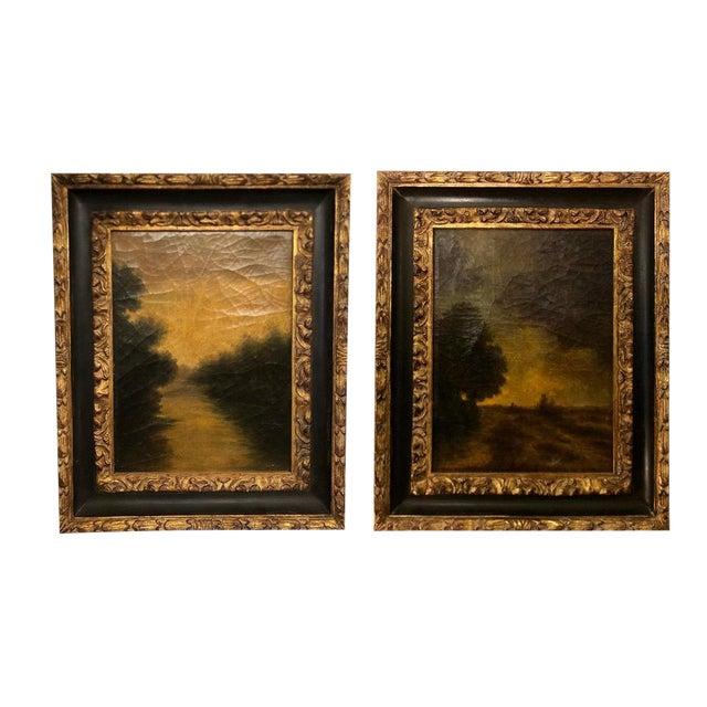 Pair of Italian Italian Oil Paintings in Jerry Solomon Designer Frames For Sale