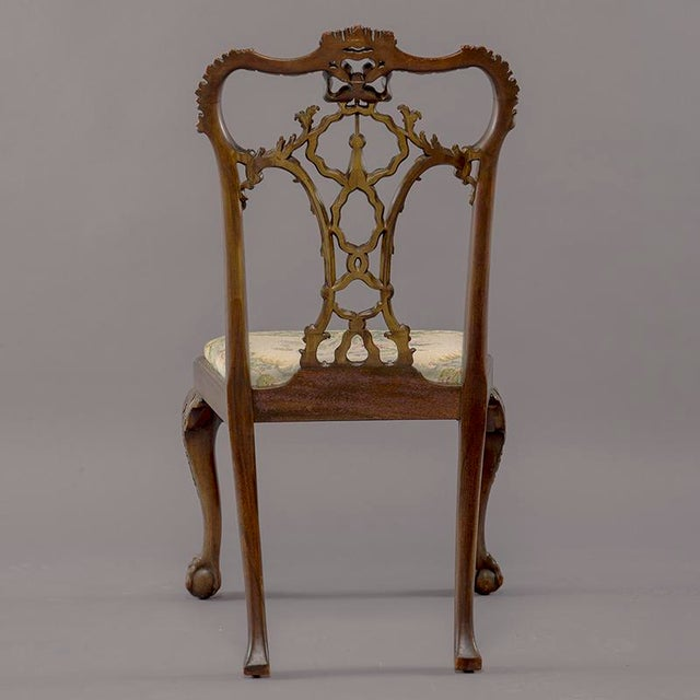 Set 8 19th C Hand Carved Chippendale Tassel Back Dining Chairs For Sale - Image 4 of 13