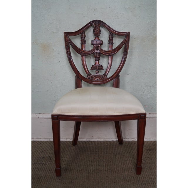 Maitland Smith Solid Mahogany Federal Style Shield Back Dining Chairs - Set of 8 For Sale In Philadelphia - Image 6 of 10