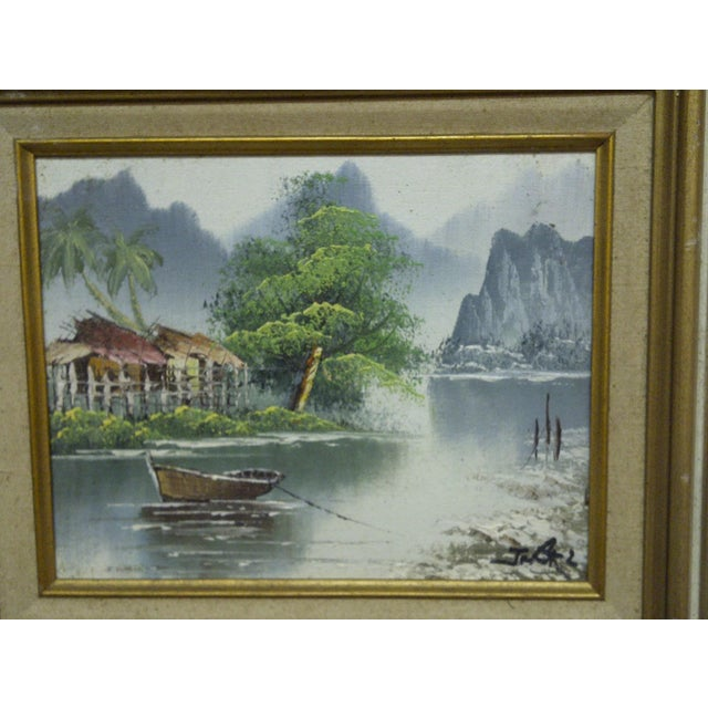 "J. Baker Original Framed ""Village on the Water"" Painting on Canvas - Image 3 of 6"