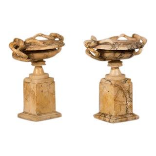 "Antique Italian ""Grand Tour"" Serpant Motif Marble Tazzas - a Pair For Sale"