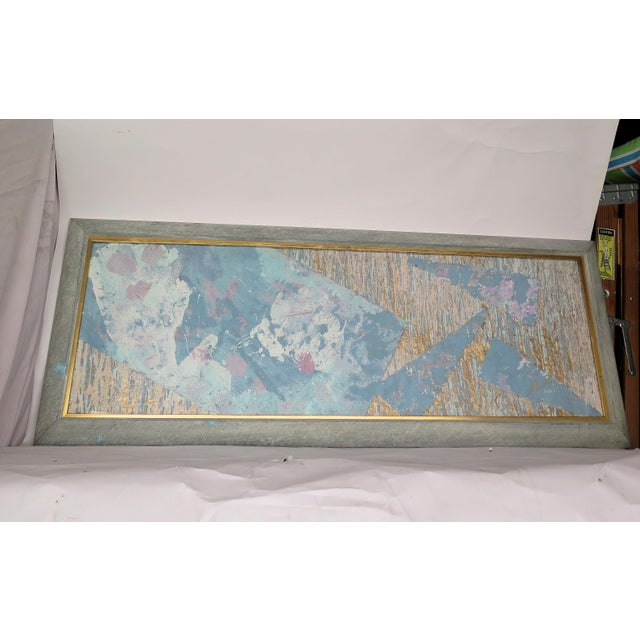 Abstract 1980's Framed Paper & Paint Collage For Sale - Image 3 of 5