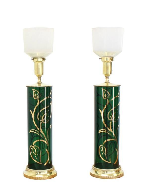 Superior Pair Of Emerald Green Gold Decorated Cylinder Shape Table