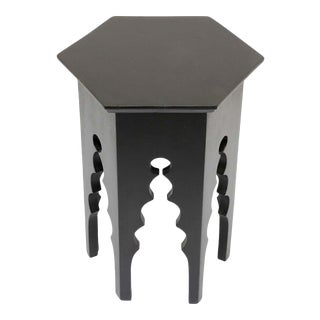 Levantine Moorish Style Hexagonal Black Side Accent Table For Sale