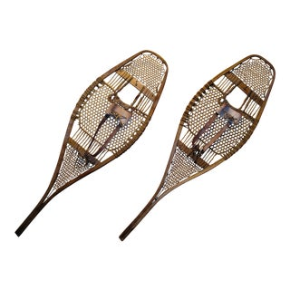 Antique Traditional Huron Style Snowshoes With Rawhide/Leather Webbing & Harnesses For Sale