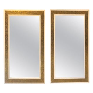 1900s Hollywood Regency Brass on Wood Frame in White Wall Mirrors - a Pair For Sale