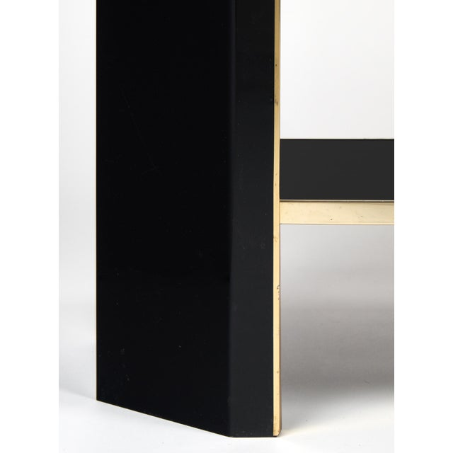 1960s French Black Lucite with Brass Console Table - Image 9 of 9