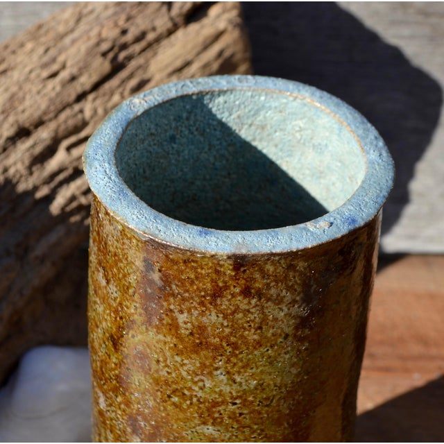 Vintage Hand Thrown Studio Earthy Toned Pottery Cylindrical Vase - Image 7 of 10