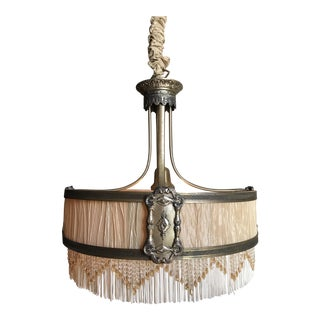 Louis XVI Style Drum Chandelier With Beaded Fringe, C. 1930s For Sale
