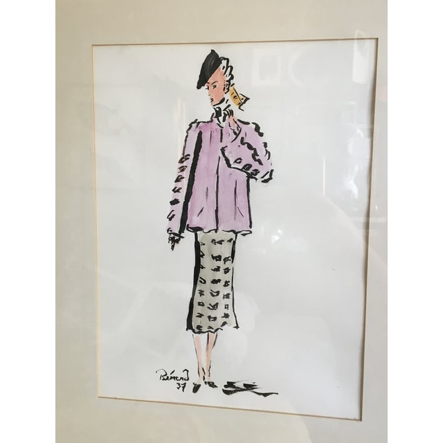 A lovely 1937 orginal watercolor by Christian Bérard, a French fashion illustrator for Coco Chanel, Elsa Schiaparelli, and...