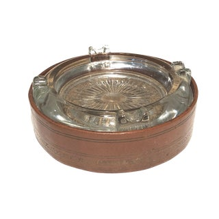Leather & Glass Desk Ashtray For Sale