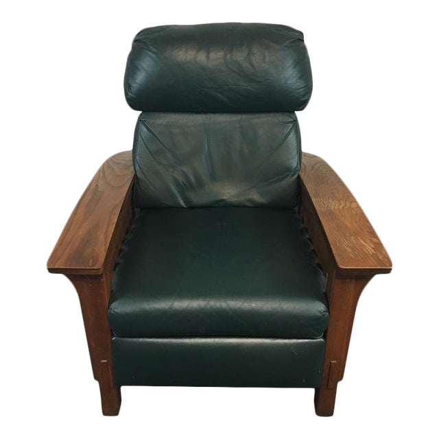 Mission Style Black Leather Upholstered Wood Recliner For Sale