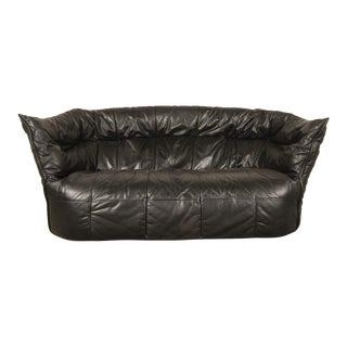 Mid-Century Modern Design Black Leather Soft Shell Sofa for Ligne Roset, 1970s