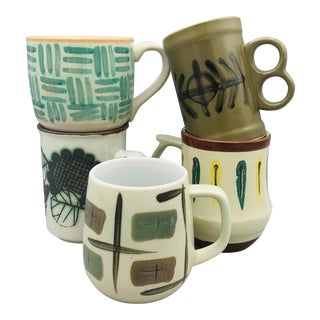 1970s Mismatched Vintage Coffee Cups - Set of 5 For Sale