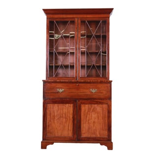 English George III Mahogany and Cherry Drop Front Secretary Desk With Bookcase, Circa 1870 For Sale
