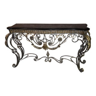 1980s Neoclassical Marble Top Console Table For Sale