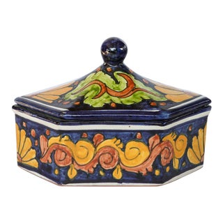 Vintage Hand Painted Ceramic by R Venegas Catchall For Sale