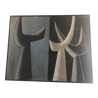 Late 20th Century Abstract Painting, Framed For Sale