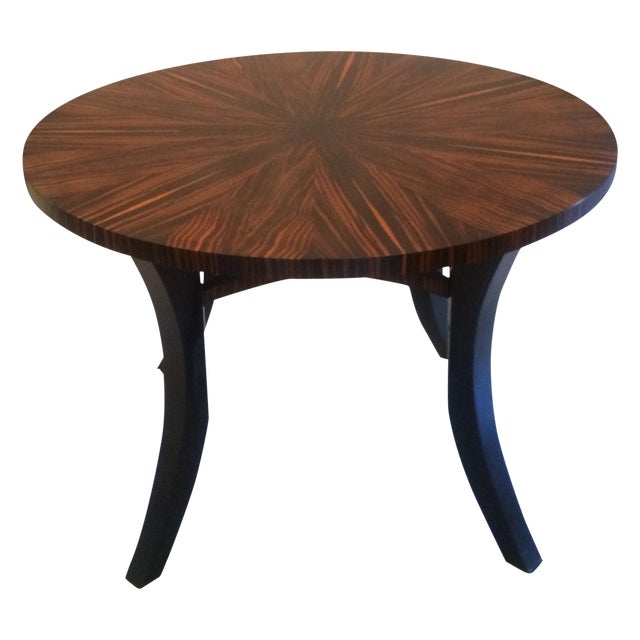 Zebra Wood Round Dining Table - Image 1 of 5