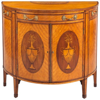 George III Satinwood Demilune Console Cabinet, circa 1790 For Sale