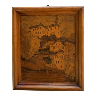 Vintage Marquetry Mourning Artwork For Sale