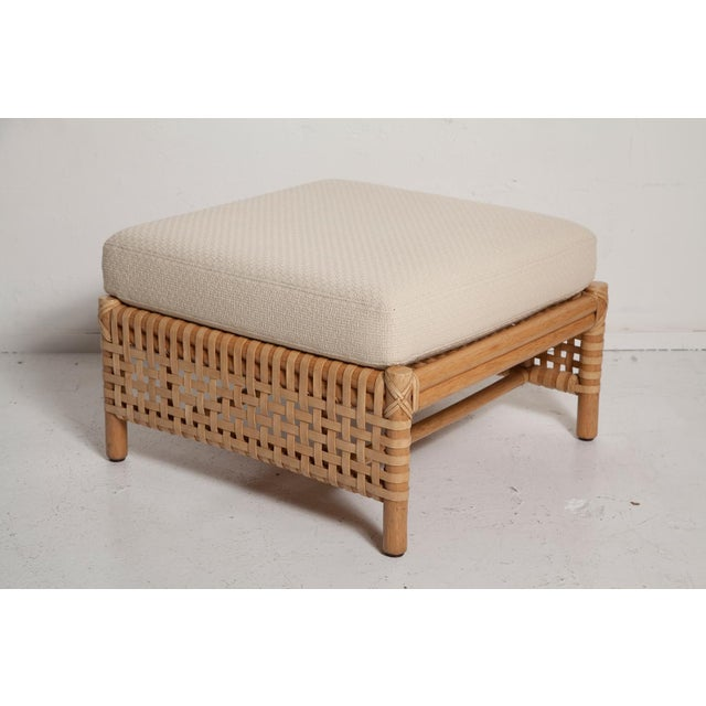 Mid-Century Modern Vintage Woven Leather Armchair and Ottoman Set by McGuire For Sale - Image 3 of 13
