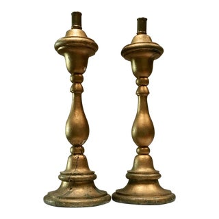Mexican Hand Carved Gold Wood Candlesticks - A Pair For Sale
