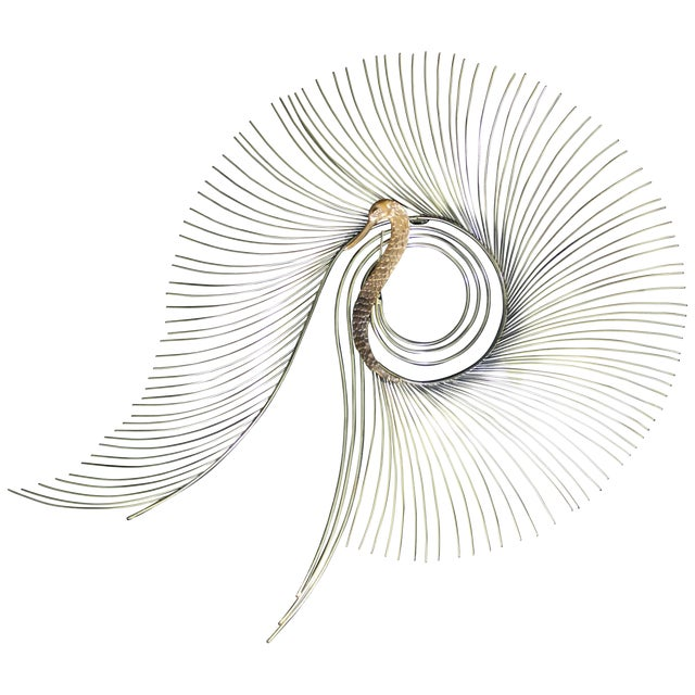 Contemporary Modern Jere Large Brass Peacock Hanging Wall Sculpture 1980s Signed For Sale
