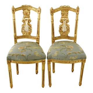 Italian Gilt Chairs W/ Scalamandre Embroidered Silk Fabric - Pair For Sale