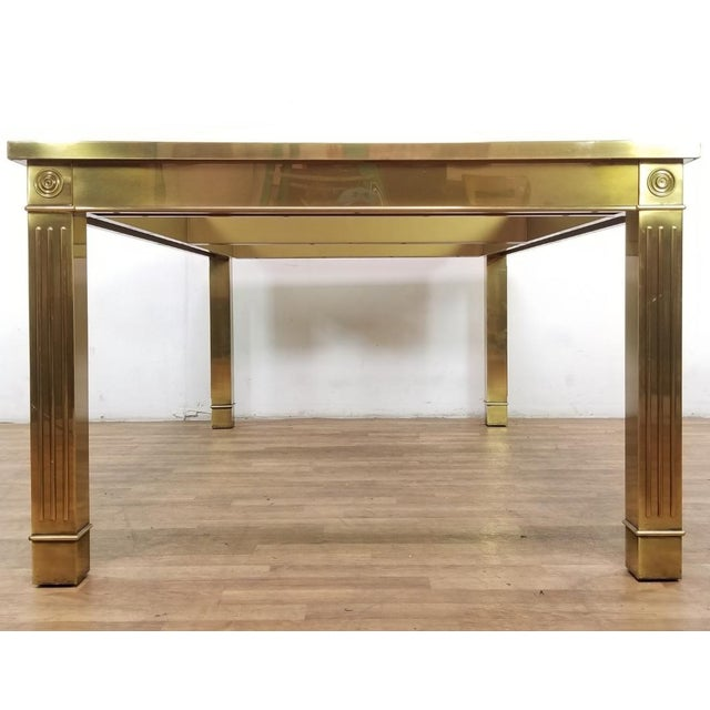 Mid-Century Modern Mid-Century Modern Mastercraft Brass and Beveled Glass Extension Table With Columnar Legs For Sale - Image 3 of 13