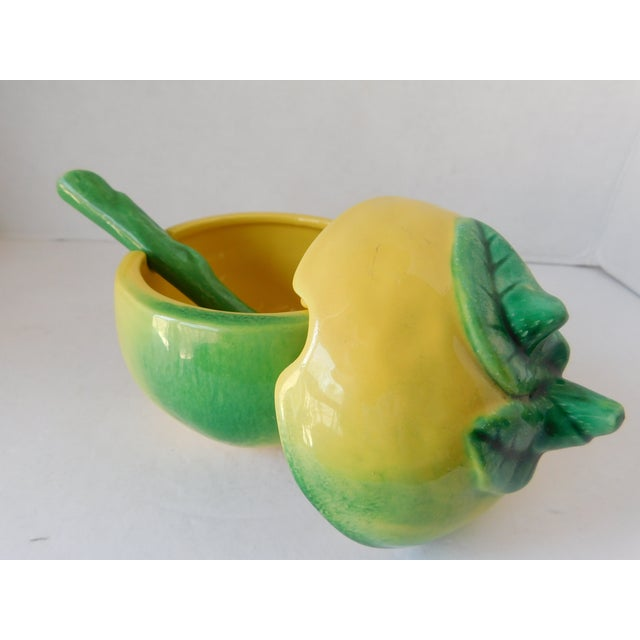 Keep this pair of vintage 1970's majolica ceramic condiment containers handy this summer--they're perfect for large...