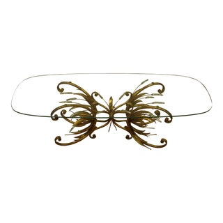 Vintage Gold Gilt Flower Wheat Sheaf Coffee Table