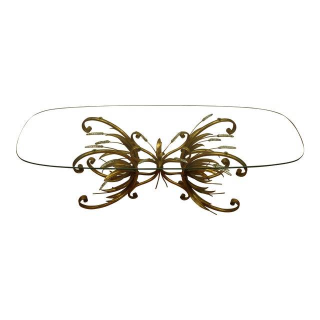 Vintage Gold Gilt Flower Wheat Sheaf Coffee Table For Sale
