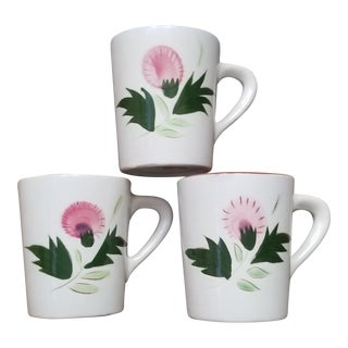 "Large Stangl ""Thistle"" Coffee Mugs - Set of 3"
