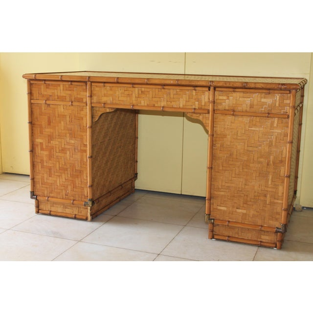 Brown 1960s Vintage Bamboo Campaign Style Writing Desk For Sale - Image 8 of 13