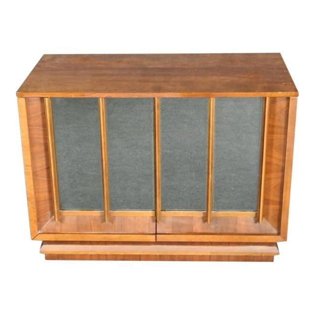 1960s Mid-Century Modern Walnut Credenza With Mirror Doors For Sale