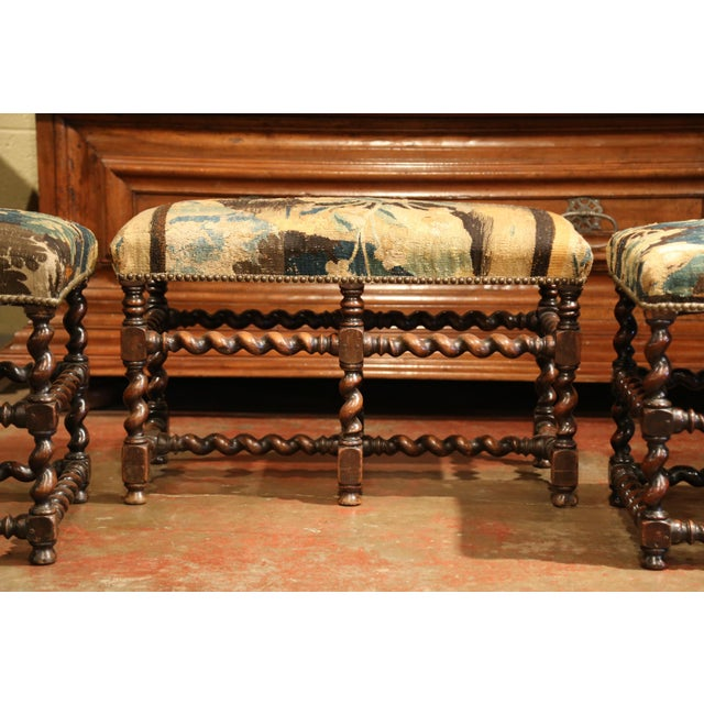 Fruitwood Set of 19th Century French Carved Walnut Stools and Bench With Aubusson Tapestry For Sale - Image 7 of 9