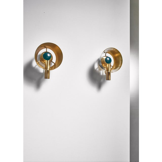 Mid-Century Modern Pair of Brass Lyfa Wall Lamps, Denmark, 1960s For Sale - Image 3 of 5