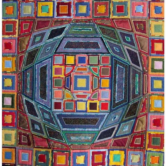 """Aspettando Lorenzo con Victor Vasarely"" (""Waiting for Lorenzo with Victor Vasarely"") Fiber Artist: Verena Giavelli 2007..."