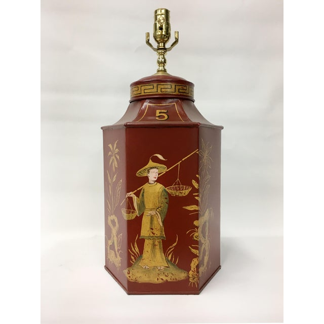1980s Red Chinoiserie Tea Caddy Lamp For Sale - Image 5 of 5