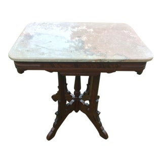 19th Century Victorian Walnut Marble Top Parlor Table For Sale