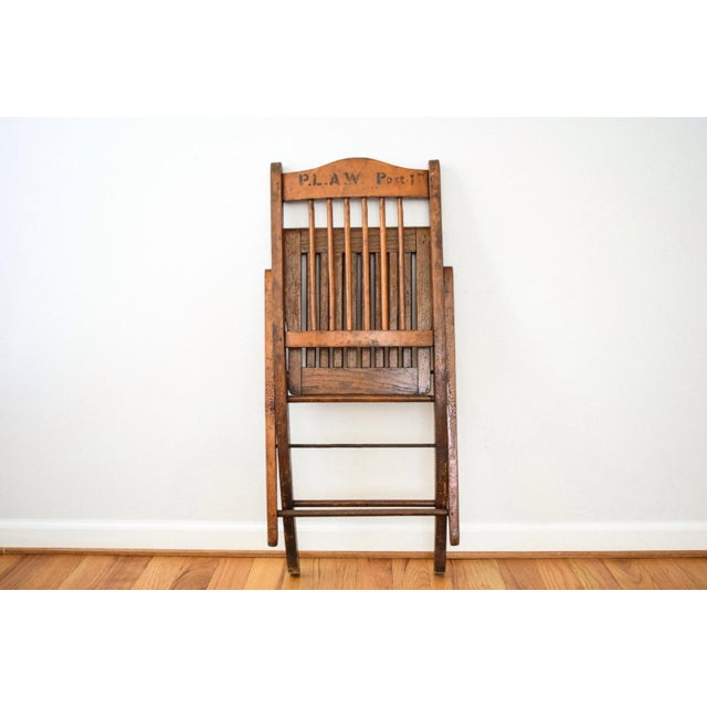Antique Wood Folding Theater or Deck Chair For Sale In Detroit - Image 6 of 6