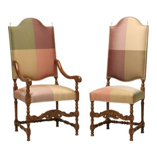 French Walnut Dining Chairs in Austrian Silk, Set of 12 For Sale