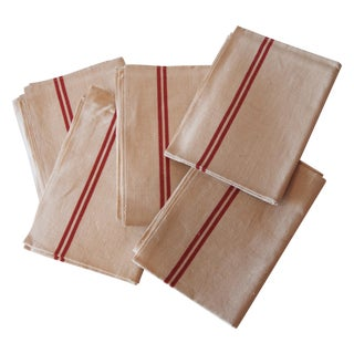 Paris Flea Mark Tea Towel Napkins - Set of 5 For Sale