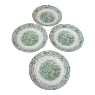 Late 19th Century Antique Ironstone WM Adams Bird Plates - Set of 4 For Sale