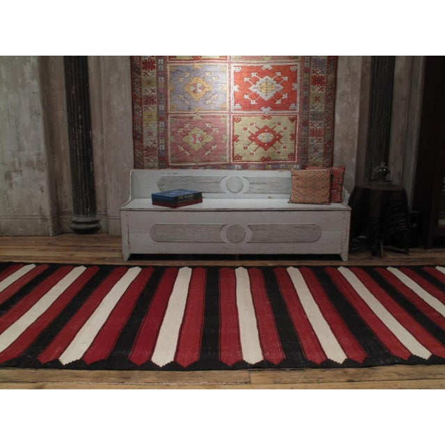 Traditional Red, White & Black Kilim (Wide Runner) For Sale - Image 3 of 6