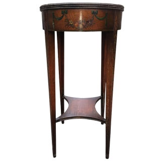 Charming Oval Tall Hand-Painted Mahogany Side Table For Sale