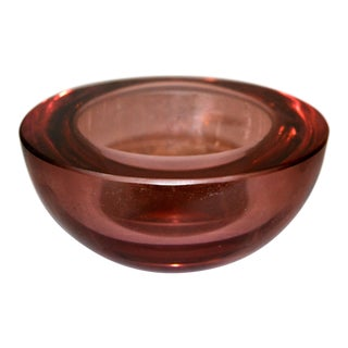 Vincenzo Nason Mid-Century Modern Cranberry Pink Murano Round Art Glass Bowl For Sale