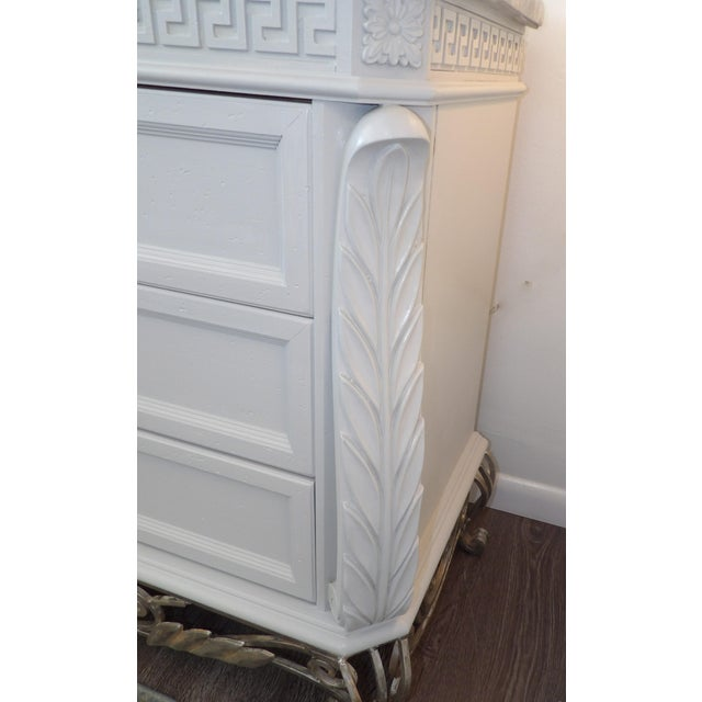 Faux Marble Topped Sideboard With Ornate Iron Base & Greek Key Design For Sale In West Palm - Image 6 of 8
