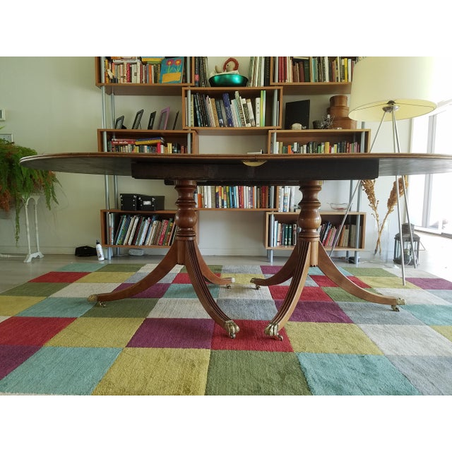 Mid-Century Modern Blond Mahogany Expandable Dining Table For Sale - Image 3 of 8